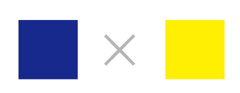 濃い青色と黄色の色の組み合わせ