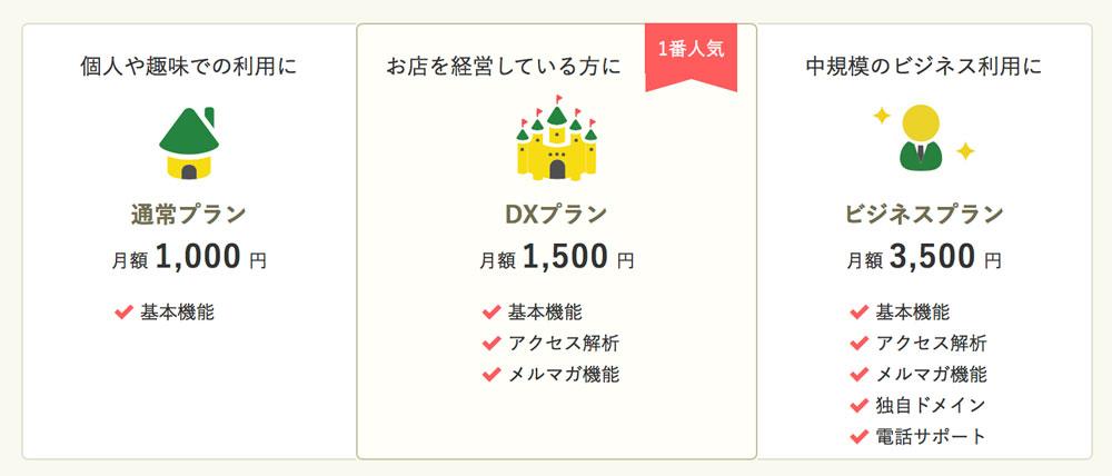 ホームページ作成サービス「グーペ」料金表