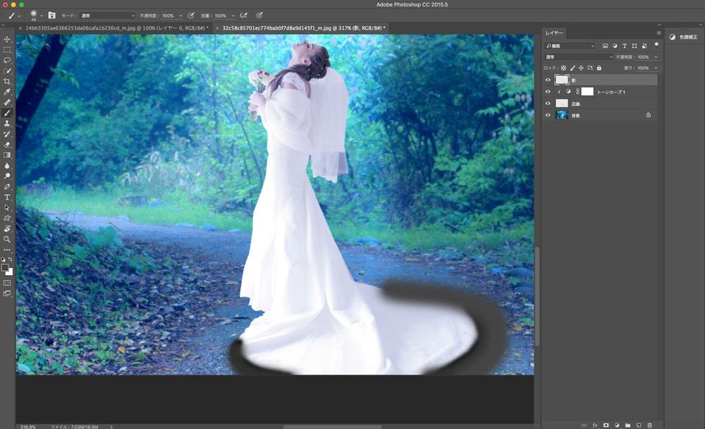 Photoshopで2つの画像を合成する(違和感なく影をつける)