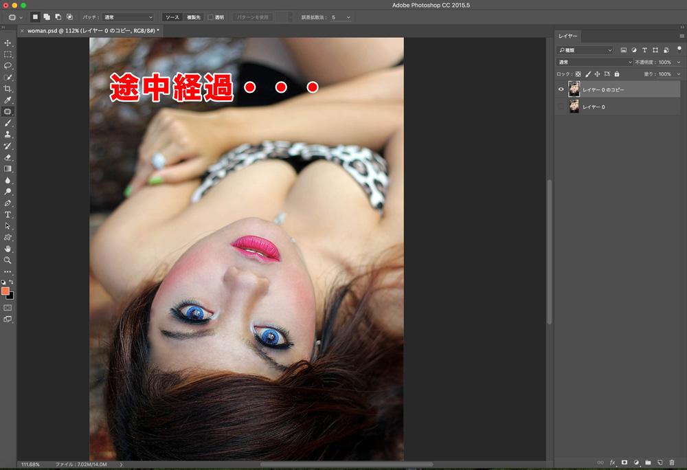 Photoshopoで詐欺メイクばりに肌質をキレイにする(途中経過)