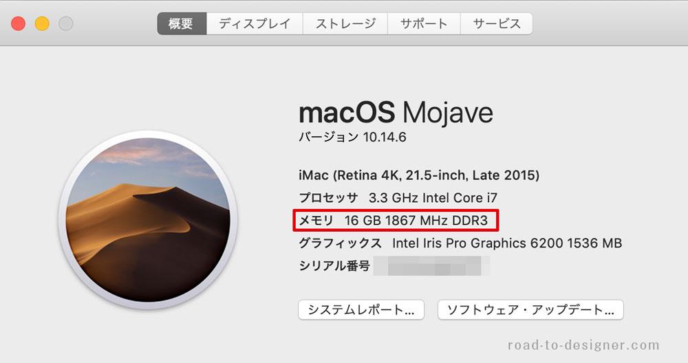 Macをメモリ16GBに増設